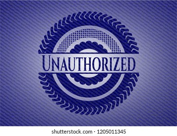 Unauthorized emblem with jean texture