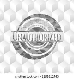 Unauthorized grey emblem. Retro with geometric cube white background