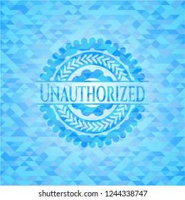 Unauthorized light blue mosaic emblem