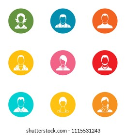 Unauthorized person icons set. Flat set of 9 unauthorized person vector icons for web isolated on white background