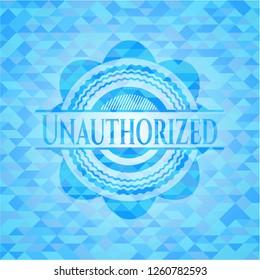 Unauthorized realistic light blue emblem. Mosaic background