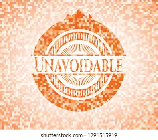 Unavoidable abstract emblem, orange mosaic background