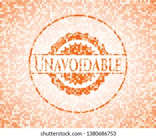 Unavoidable abstract orange mosaic emblem with background