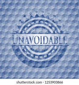 Unavoidable blue emblem with geometric pattern.