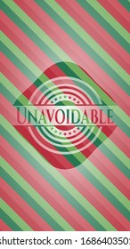 Unavoidable christmas colors style emblem. Vector Illustration. Detailed.