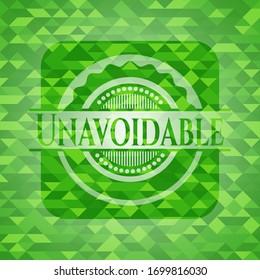 Unavoidable green emblem. Mosaic background. Vector Illustration. Detailed.
