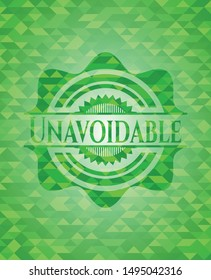Unavoidable green emblem with mosaic ecological style background. Vector Illustration. Detailed.