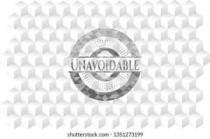 Unavoidable grey badge with geometric cube white background