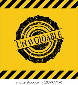 Unavoidable inside warning sign, black grunge emblem. Vector Illustration. Detailed.