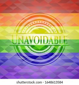 Unavoidable lgbt colors emblem. Vector Illustration. Mosaic.