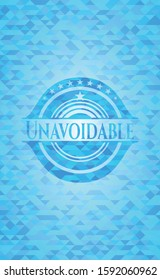 Unavoidable light blue emblem with mosaic background