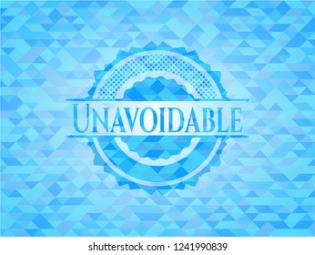 Unavoidable sky blue emblem. Mosaic background