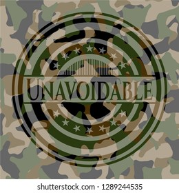 Unavoidable written on a camo texture