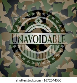 Unavoidable written on a camouflage texture. Vector Illustration. Detailed.