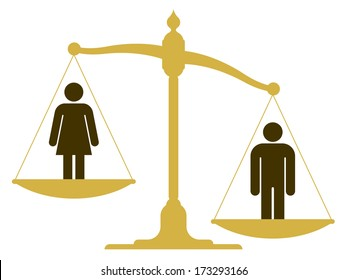 Unbalanced old fashioned pan scale with a man and woman showing the inequality of the sexes with the male having a heavier weighting illustration