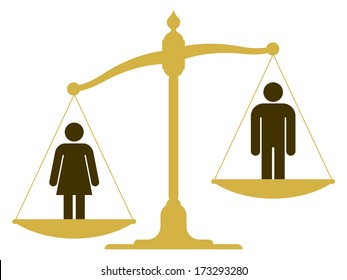 Unbalanced old fashioned pan scale with a man and woman showing the inequality of the sexes with the female having a heavier weighting illustration