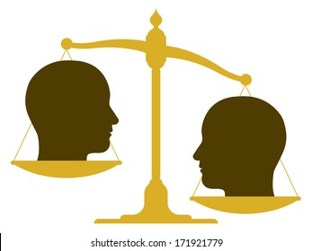 Unbalanced scale with two heads