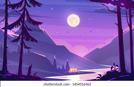 Unbelievable mountain landscape. Modern vector illustration concept. Exciting view. A great mountains is surrounded river. Camping. Outdoor recreation. Calm night.