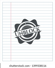 Unblock pencil emblem. Vector Illustration. Detailed.