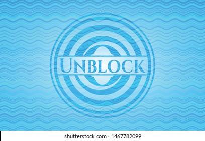 Unblock water wave concept badge background. Vector Illustration. Detailed.