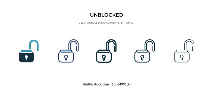 unblocked icon in different style vector illustration. two colored and black unblocked vector icons designed in filled, outline, line and stroke style can be used for web, mobile, ui