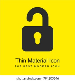 Unblocked Padlock bright yellow material minimal icon or logo design