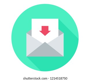unbox e-mail. Incoming message Mail download. Mail download  icon. Incoming Messages correspondence sign. E-mail symbol. Quality design element. Classic style. Editable stroke. Vector