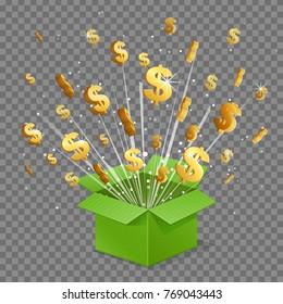 Unboxing present gift surprise box, dollar sign light beam lence flare explosion, shiny golden stars fly out of box. Bonus unlock prize winner illustration.