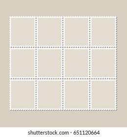 Unbroken vintage sheet of twelve postage stamps. Set of stamps on a light background with a shadow. Vector illustration.