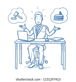 Uncertain business man, employee at his desk with laptop, trying to decide weather beeing lawful or selfish.  Hand drawn line art cartoon vector illustration