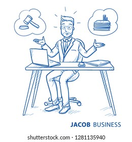 Uncertain business man, employee at his desk with laptop, trying to decide whether beeing lawful or selfish.  Hand drawn blue line art cartoon vector illustration
