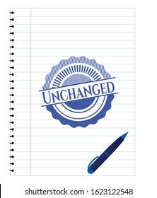 Unchanged blue ink pen emblem. Vector Illustration. Detailed.