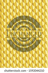 Unchanged gold badge or emblem. Scales pattern. Vector Illustration. Detailed.