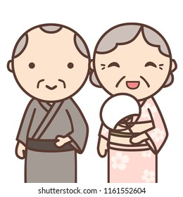 Uncle and aunt go summer festival together. They wear Japanese traditional Yukata. Yukata is Japanese summer kimono.