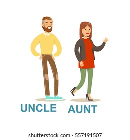 Uncle And Aunt, Happy Family Having Good Time Together Illustration