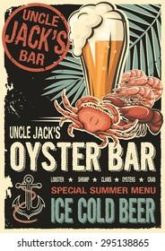 Uncle Jacks raw fish bar poster. Grunge old fashioned retro design for restaurant, cafe, bar, happy hours booklet, seafood brochure, raw bar leaflet, flyer or pamphlet. Vector illustration