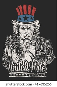 Uncle Sam artwork for clothing.Vector