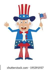 Uncle Sam - Cartoon illustration of uncle Sam holding a flag. Eps10