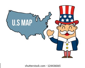 uncle sam cartoon isolated over white background. vector