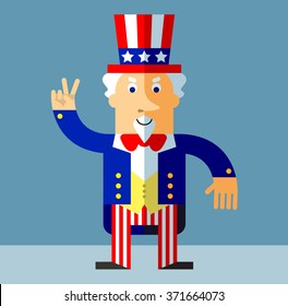 Uncle Sam gesturing victory. Flat style vector illustration on gray background.  Common national personification of the American government. Symbol of USA