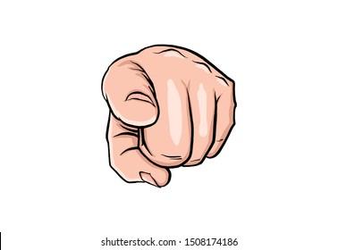 Uncle sam hand in pop art style. Business concept illustration. Cartoon vector illustration. Man show forefinger. Human arm in vintage retro design. Cartoon comics book Uncle Sam forefinger.