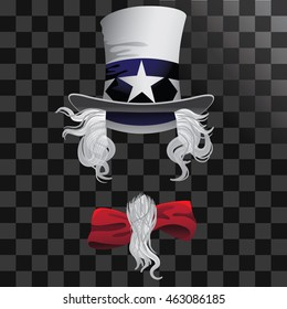 Uncle Sam Hat, hair beard and bow tie. EPS 10 vector.