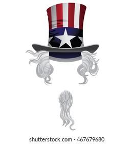Uncle Sam Hat, hair and beard. EPS 10 vector.