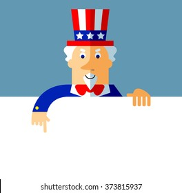 Uncle Sam holding a blank sheet pointing. Flat style vector illustration on gray background.  Common national personification of the American government. Symbol of USA