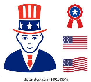Uncle Sam icon in blue and red colors with stars. Uncle Sam illustration style uses American official colors of Democratic and Republican political parties, and star shapes.