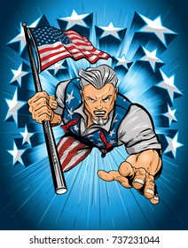 Uncle Sam Leaping Forward With American Pride