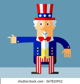 Uncle Sam pointing direction. Flat style vector illustration on gray background.  Common national personification of the American government. Symbol of USA