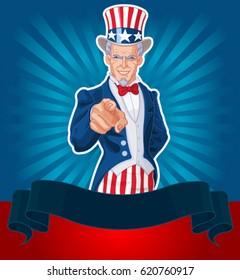 Uncle Sam pointing patriotic design