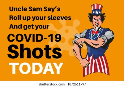 Onkel Sam Says Hol deine Ärmel hoch und hol deine Covid-Aufnahmen - Vektorgrafik