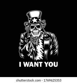 Uncle Sam Skull Vector Illustration